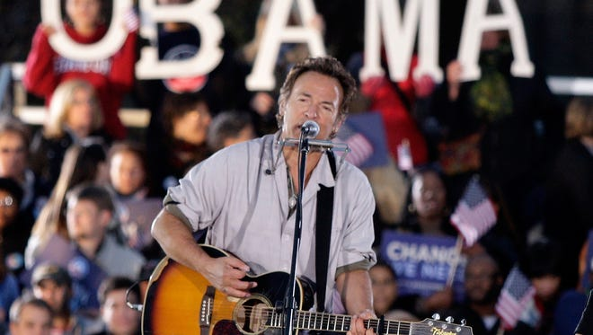 Bruce Springsteen at a Barack Obama rally in 2008.