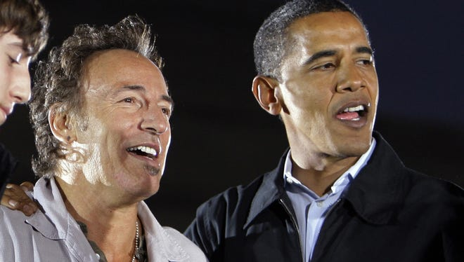 Bruce Springsteen and then-candidate Barack Obama in 2008.