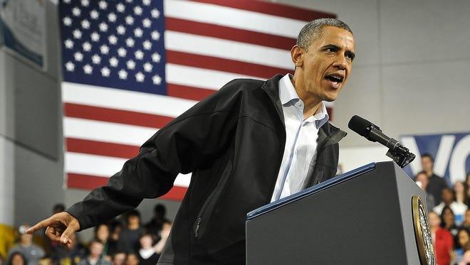 President Obama speaks in Springfield, Ohio, on Friday.