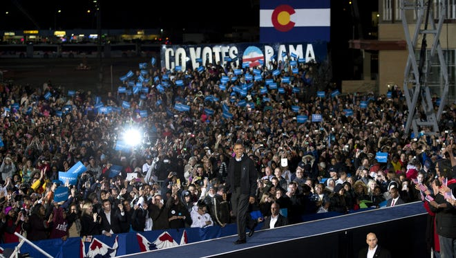President Obama campaigns at a community college in Aurora, Colo., before Election Day.
