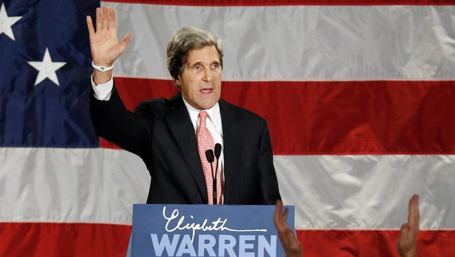 Sen. John Kerry, shown at an election night rally for Sen.-elect Elizabeth Warren, has been mentioned for secretary of State and now secretary of Defense in President Obama's second term.