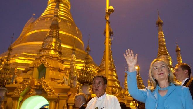 Secretary of State Hillary Rodham Clinton tours Shwedegon Pagoda, a Buddhist temple, in Burma.