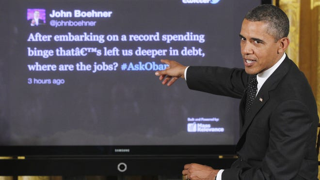 President Obama during a Twitter town hall in 2011