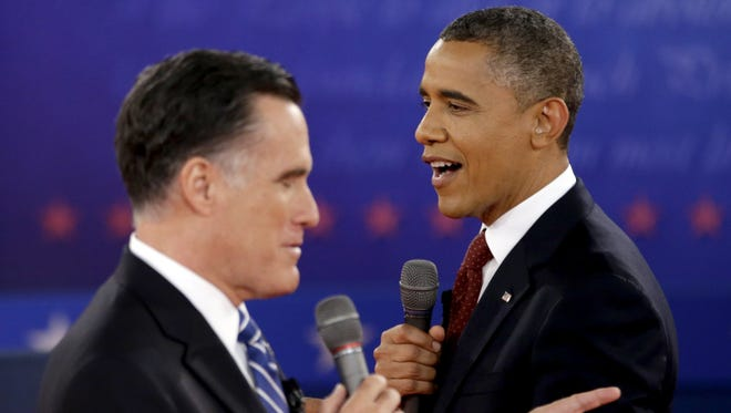 President Obama and Mitt Romney during an Oct. 16 debate