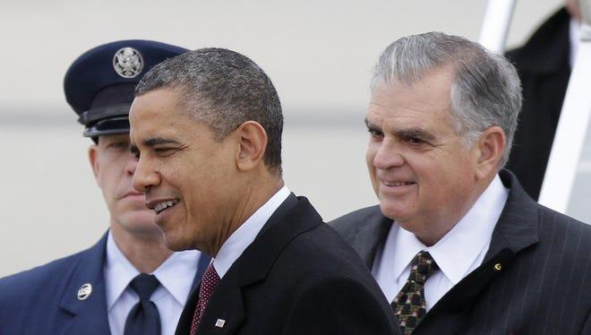 President Obama and Transportation Secretary Ray LaHood