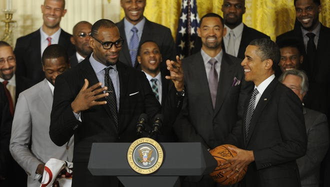 President Obama and LeBron James at the White House on Monday.
