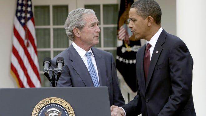 Presidents Obama and George W. Bush