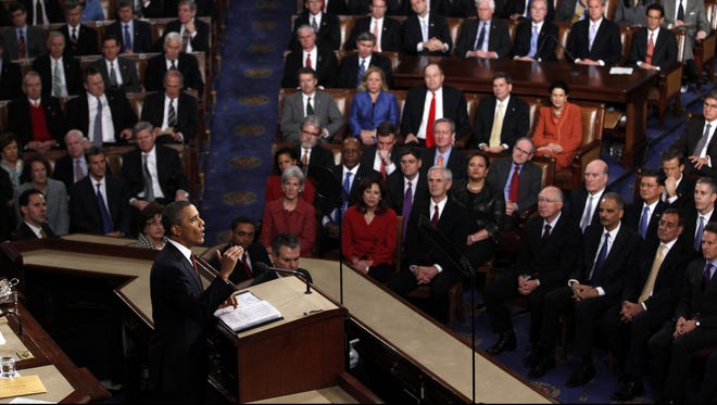 President Obama delivers his 2012 State of the Union Address at the Capitol.