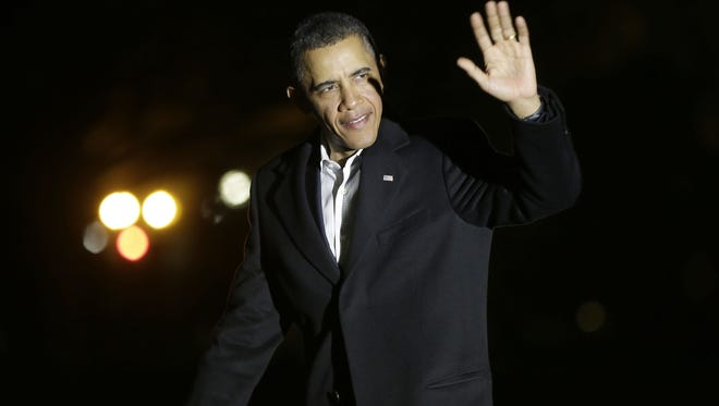 President Obama returning to the White House from Florida on Monday night.