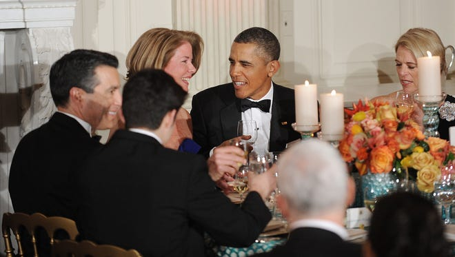 President Obama dines with the governors.
