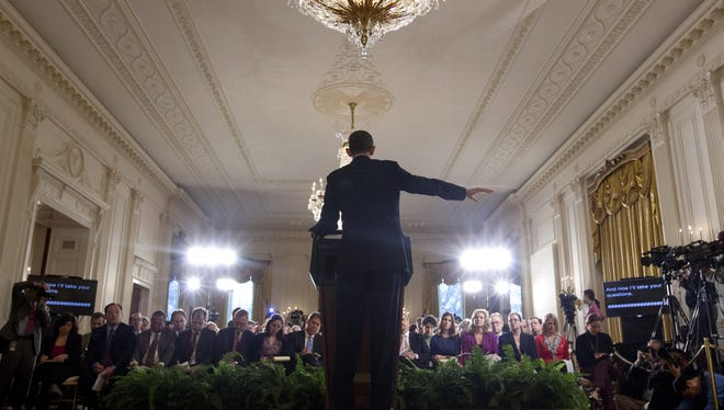 President Obama at a news conference in January