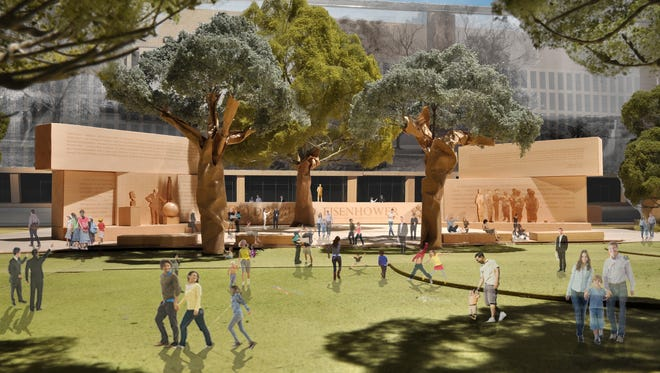 This model image, provided by Eisenhower Memorial Commission, shows the proposed Dwight D. Eisenhower Memorial to be built in Washington.