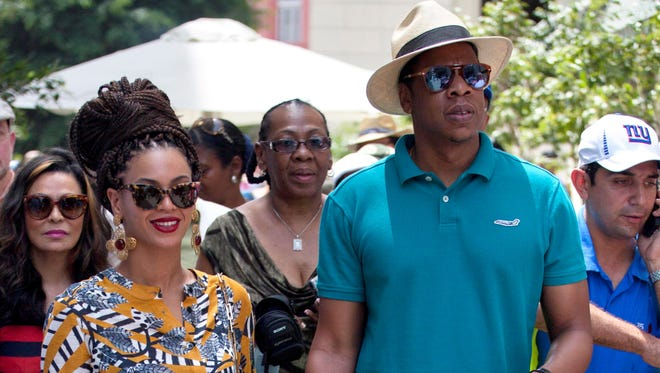 Jay-Z and Beyonce in Old Havana, Cuba.