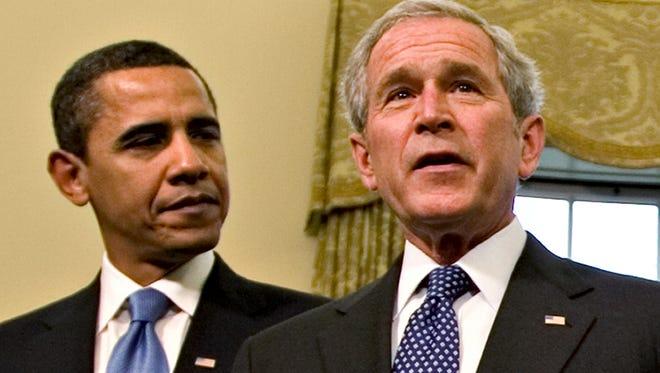 President Obama and President Bush in 2009