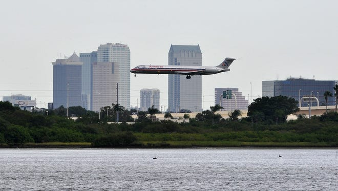 A American Airlines plane is preparing to land at the Tampa airport on Aug. 25 , 2012.