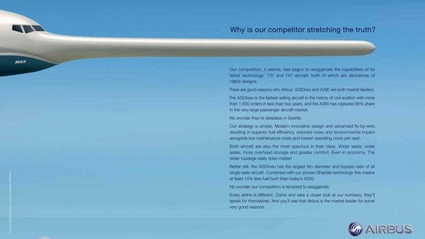 """An image of Airbus' ad that suggest Boeing is """"stretching the truth."""""""