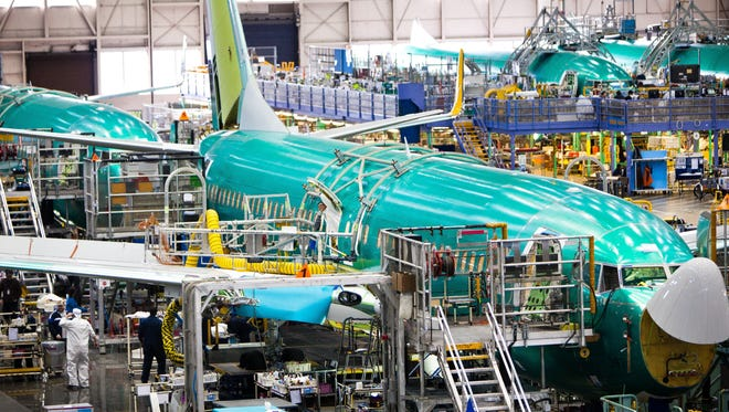 A view of Boeing's Next Generation 737 production line  at the company's Renton, WA plant.