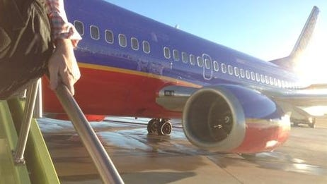 An image of a Southwest Airlines jet that blew some of its tires after aborting a takeoff on Monday, Jan. 21, 2013.
