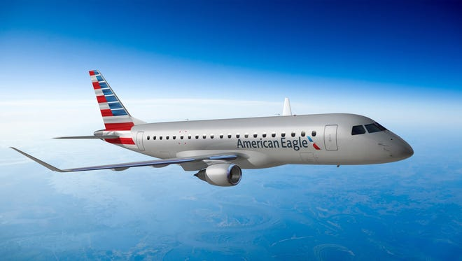An image of a 76-seat Embraer E175 aircraft painted in the new look of American Airlines.
