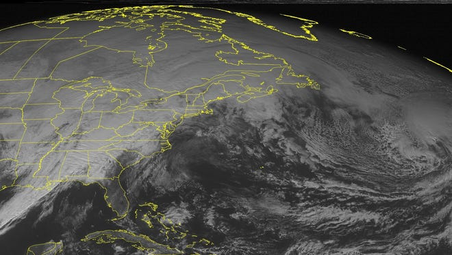 A low pressure system across much of the U.S. has brought rain and thunderstorms to New York and the Southeast, along with areas of snow through the Great Lakes.