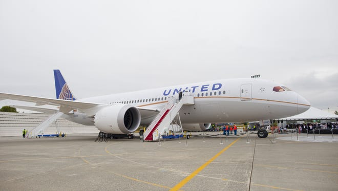 United Airlines shows its the Boeing 787 Dreamliner to the pubic for the first time at a special ceremony at Boeing's factory in Everett, Wash., on  Aug. 2, 2012.