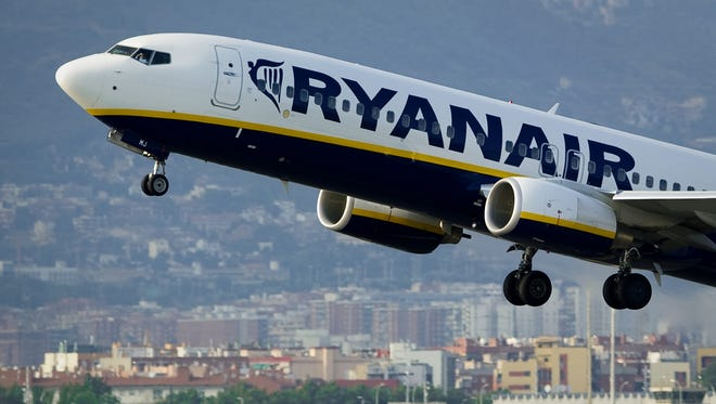 In this file photo from Sept. 1, 2010, a Ryanair aircraft takes off from Barcelona's airport.