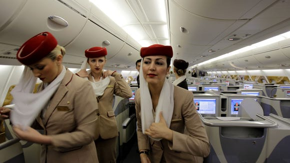 Emirates Flight Attendants Prepare The Inside An Airbus A380 Aircraft For A At New Concourse Of Dubai Airport In United Arab