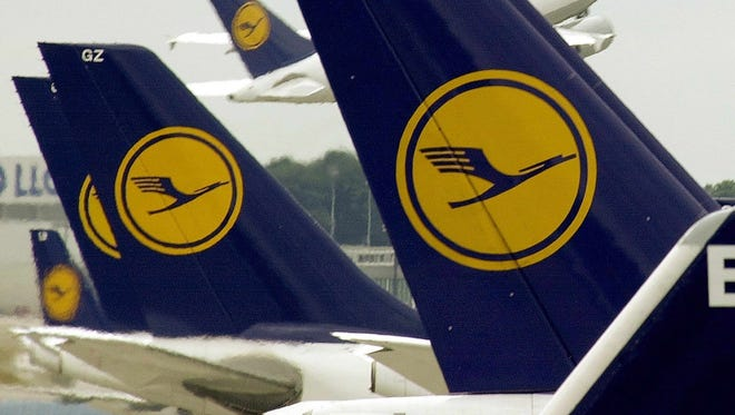 This photo from Aug. 21, 2001, shows Lufthansa aircraft at the airline's Frankfurt hub.