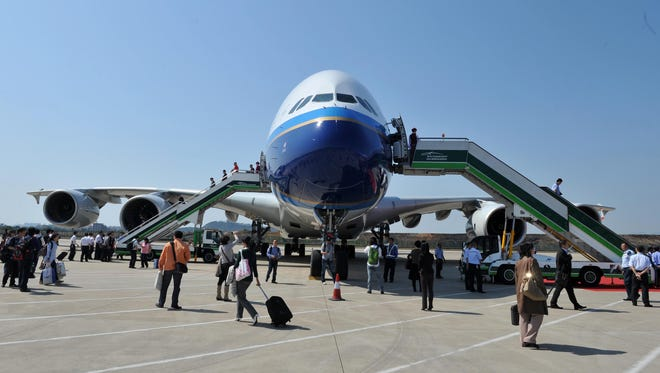 A China Southern Airlines Airbus A380 prepares to depart Beijing Capital International airport on its inaugural commercial flight between Beijing and Guangzhou on Oct. 17, 2011.