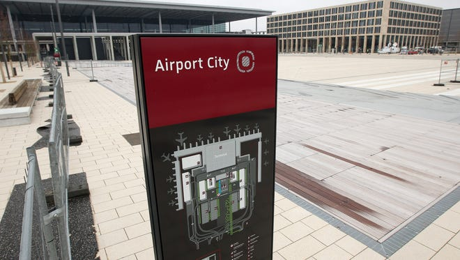 The main terminal building of the still-unopened Berlin Brandenburg International (BER) airport as seen on March 8, 2013.