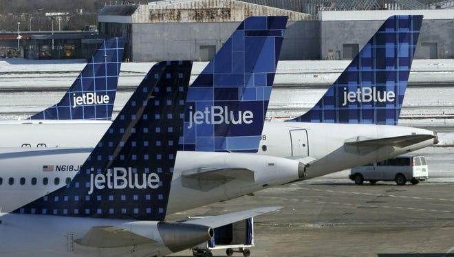 JetBlue planes at New York's John F. Kennedy International Airport on Feb. 16, 2007.