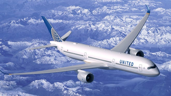 A rendering showing an Airbus A350-1000 painted in United Airlines' colors.