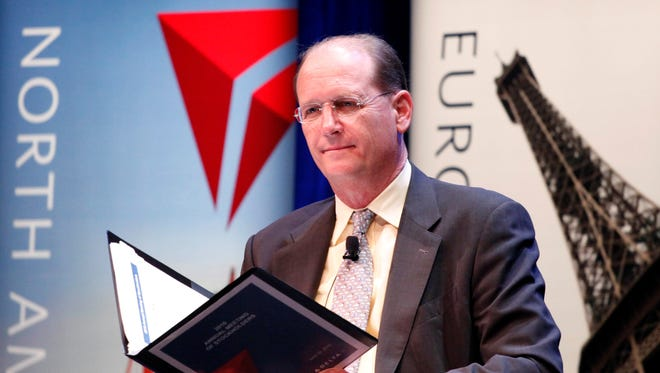 Delta CEO Richard Anderson listens during the company's annual meeting on June 30, 2010, in New York.