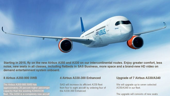 A screenshot of a page on SAS airline's website in which the company touts its new order for Airbus jets.