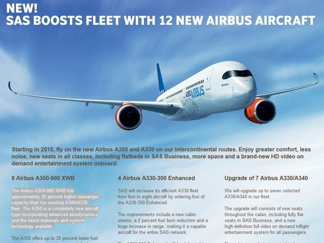 SAS: 12-plane order with Airbus includes A350-900s