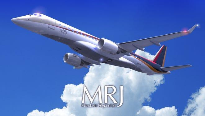 A promotional image promoting Mitsubishi regional jets.