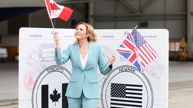 Actress Kim Cattrall helps promote British Airways' new flights on its Boeing 787 Dreamliners.