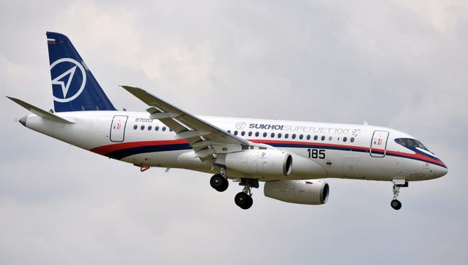 This file photo from June 11, 2009, shows a Russian Sukhoi Superjet 100 regional aircraft flying at Le Bourget airport outside Paris.