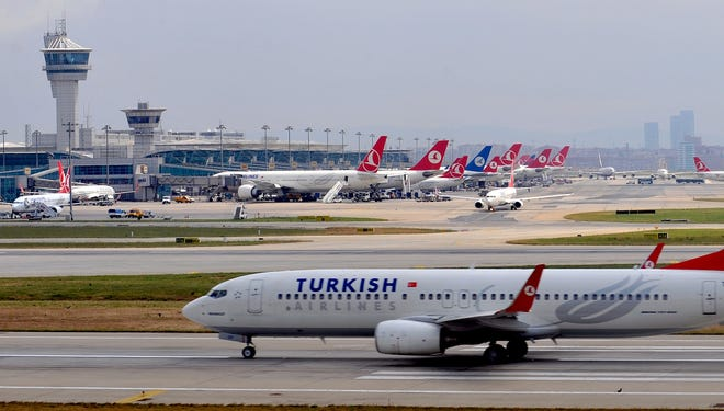 A Turkish Airlines plane takes off at the Ataturk Airport in Istanbul.