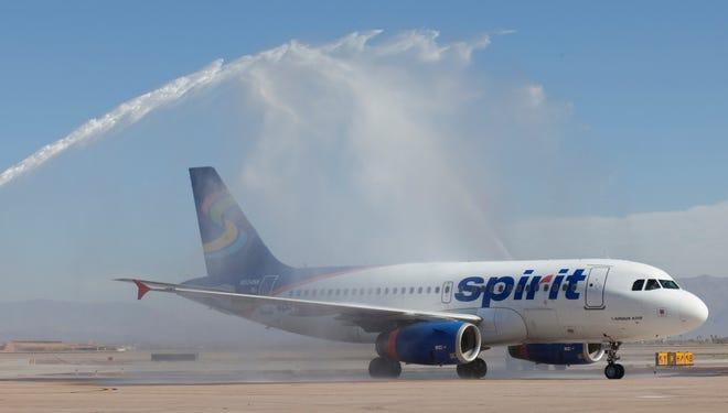 Spirit Airlines' inaugural flight from Las Vegas arrives at Phoenix-Mesa Gateway Airport on Feb. 9, 2012.