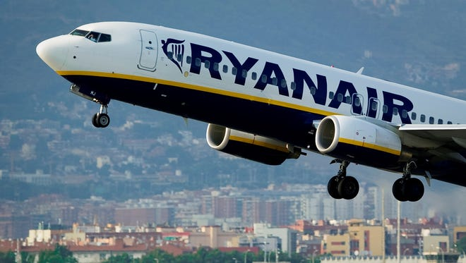 In a file picture taken on Sept. 1, 2010, a Ryanair flight takes off from Barcelona's airport.
