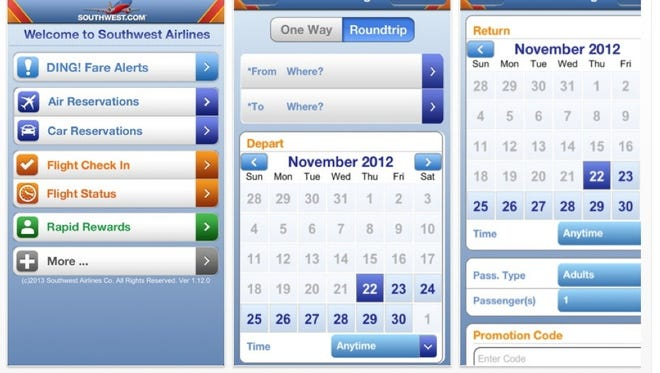 Southwest Airlines apps downloaded from iTunes.