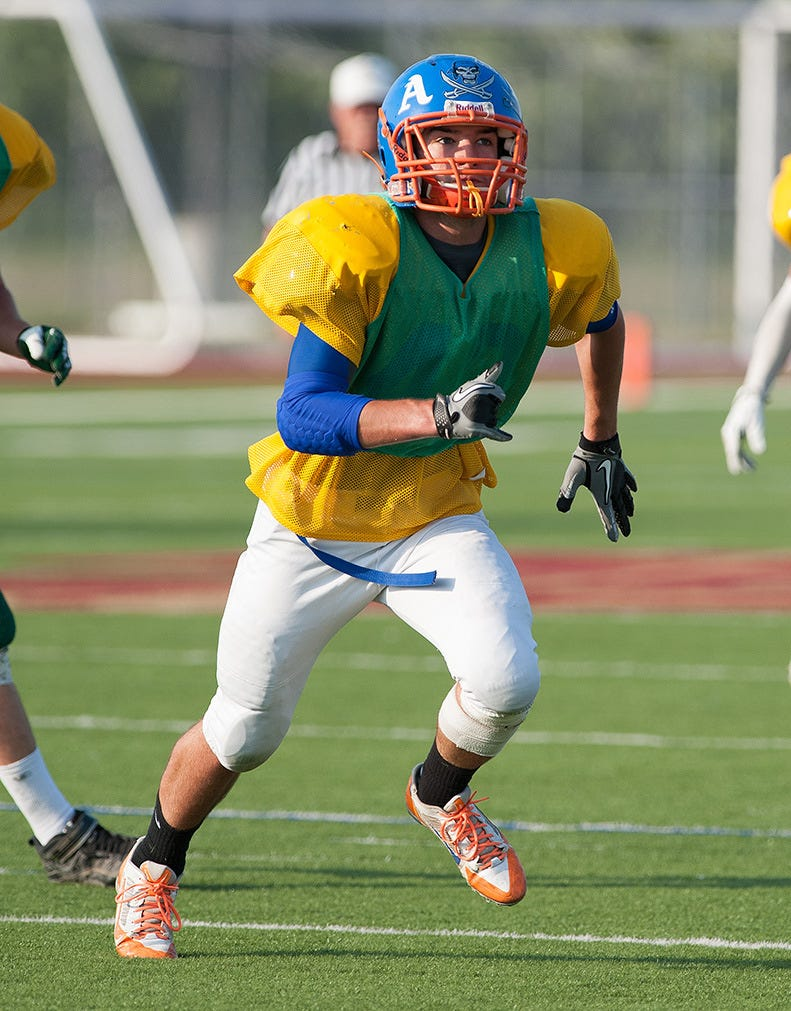 Delmar's Chase Harmon is among the Gold players setting aside rivalries to join forces against the Blue team.