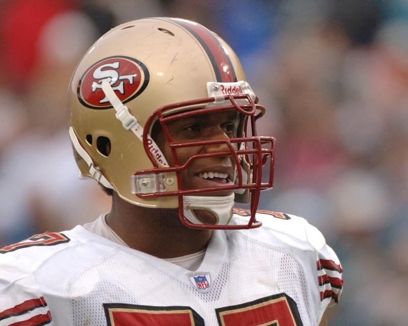 San Francisco tackle Kwame Harris prepares for a game against Jacksonville in 2005.