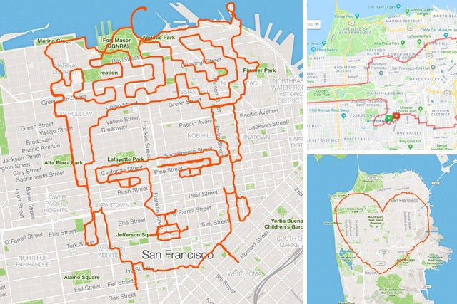 San Francisco man makes art using GPS tracking app Strava as ... on san francisco district map, san francisco map pdf, san francisco city map, san francisco by neighborhood map, san francisco neighborhood map boundaries, san francisco california map, san francisco neighborhood map words, san francisco on us map, san francisco map usa,