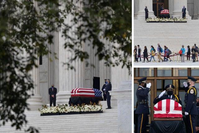 Ruth Bader Ginsburg lies in repose at US Supreme Court