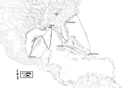 Luna Expedition Routes Southeastern U S Mexico Caribbean