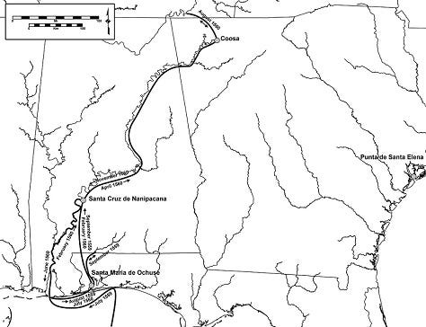 Luna Expedition Routes Southeastern U S Detailed
