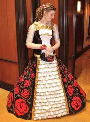 Baylee DeVos, a rising senior at Caledonia High School in Caledonia, Michigan, wore a dress made entirely out of Duck Tape to her junior prom this year and won a $10,000 college scholarship for her design.