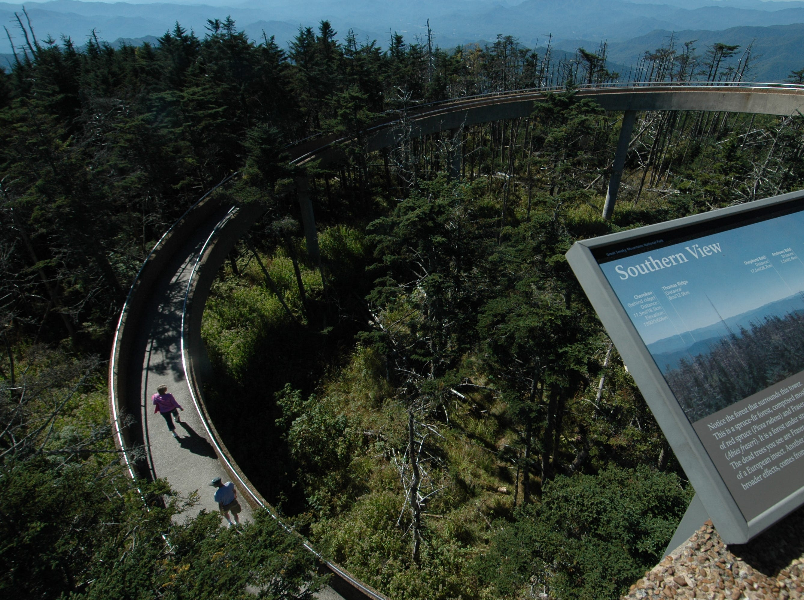 The observation platform and walkway atop Clingmans Dome in the Great Smoky Mountains National Park provides visitors an unequaled 360-degree view of the park and the region. At 6,643 feet above sea-level, it is the highest point in the park and the third-highest peak east of the Mississippi. File photo from Sunday, Sept. 30, 2007.